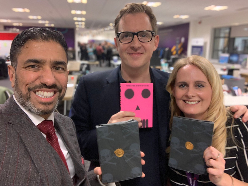 Ammar Mirza CBE, Sam Conniff Allende and Me holding Be More Pirate Books!