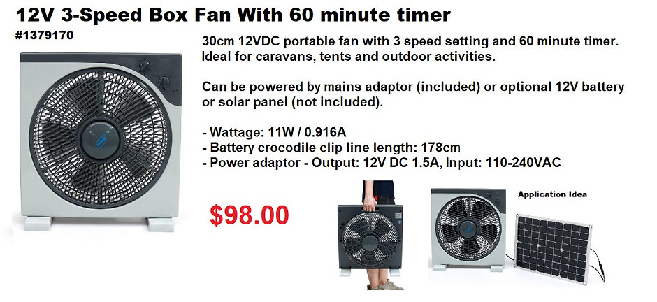 #1379170 12V 3-Speed Box Fan With 60 min