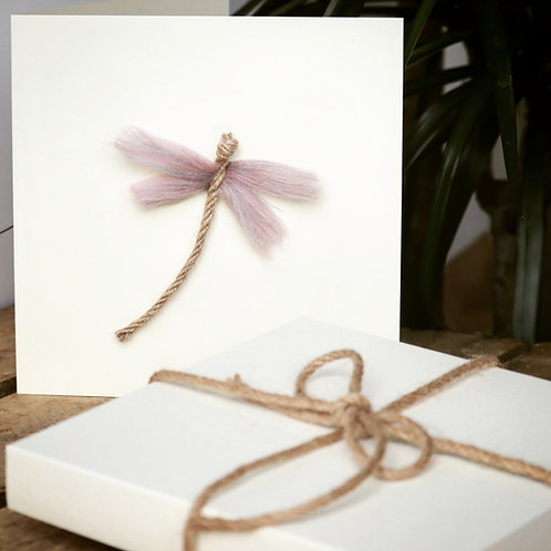 Dragon Fly Greeting Card - Dusky Pink