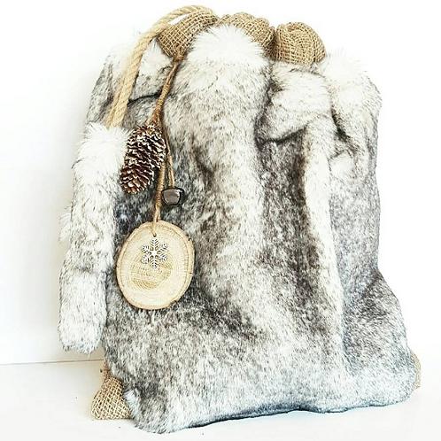 Snow Faux Fur Hessian Luxury Gift Sack