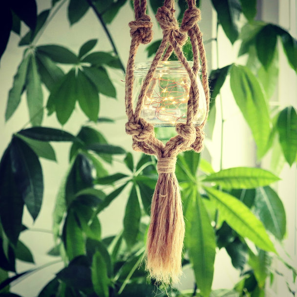 Jute Rope Fairy Light Lantern