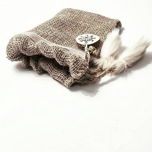 Luxury Handmade Cream Noel faux fur/Hessian Mini Gift Sack