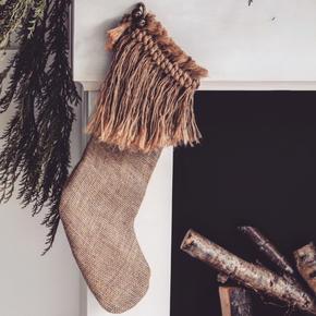 Natural Wild Hessian Christmas Stocking