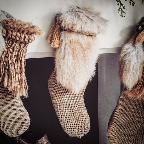 Golden Brown Luxury Christmas Stocking - Small