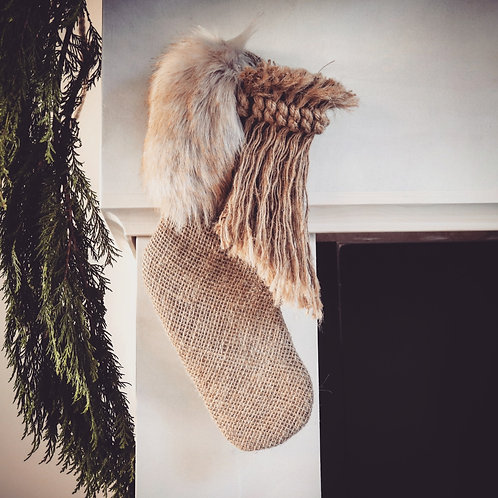 Golden Brown Wild Christmas Stocking - Small