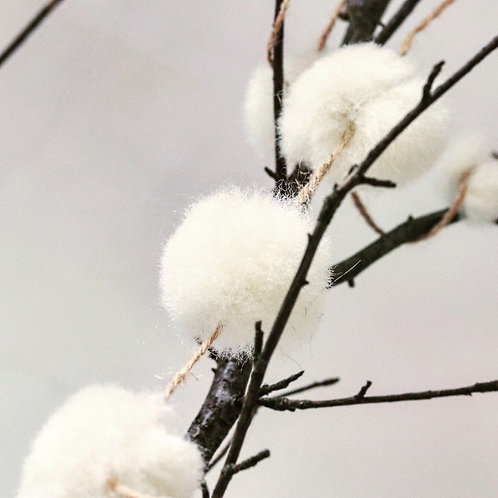 Natural White Top Snowball Garland - Small
