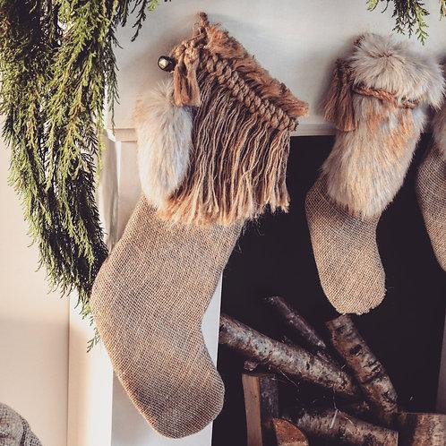 Golden Brown Wild Christmas Stocking