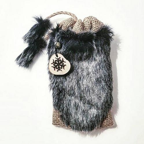 Black Snow Tip Faux Fur  Hessian Mini Gift Sack