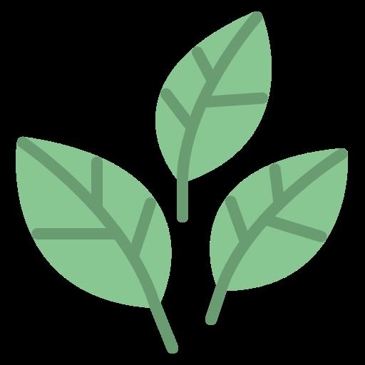 Tre tecknade gröna blad brevid varandra