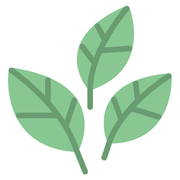 Tre gröna tecknade blad