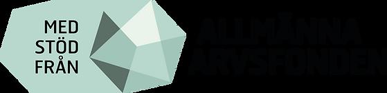 Allmänna Arvsfondens logotyp, den har svart text och en grönblå symbol som liknar en slipad sten.