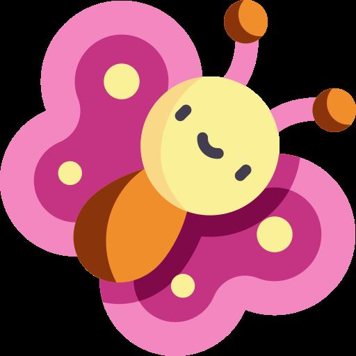 Tacknad fjäril med glatt ansikte, den är rosa, orange och vit och ser ut som en seriefigur.