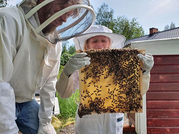 En vuxen och ett barn och på sig biodlardräkter. Barnet håller upp en ram, på den sitter många bin. Barnet ser glatt ut.