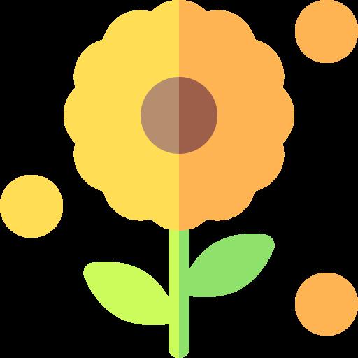 En gul tecknad blomma