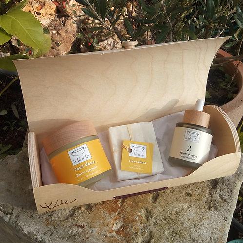 Coffret cadeaux bois pyrogravé cosmétique bio artisanal naturel Le Bol en Bois