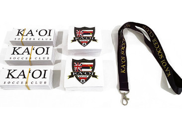 Custom Stickers and Lanyards for Kaoi Soccer Club.