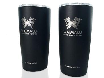 New! Custom Tumblers and Flasks for Waimalu Elementary.
