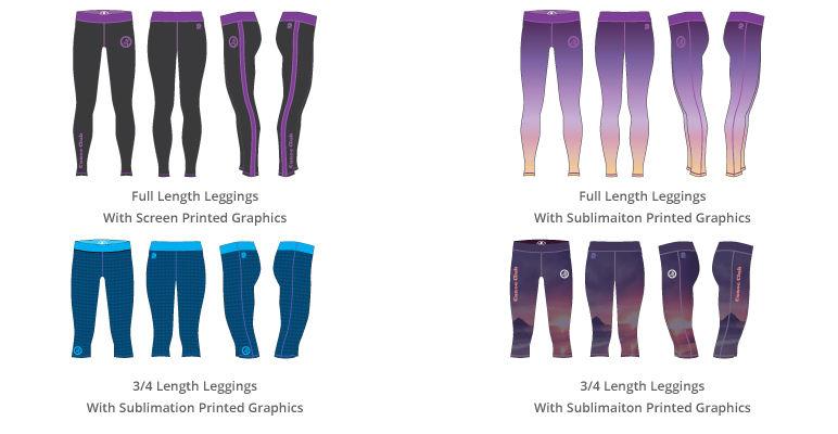 Custom Leggings, Full Length Leggings, 3/4 Leggings, Sublimation Leggings