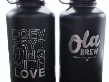 Custom Growlers, Flasks, and Tumblers For Ola Brew.