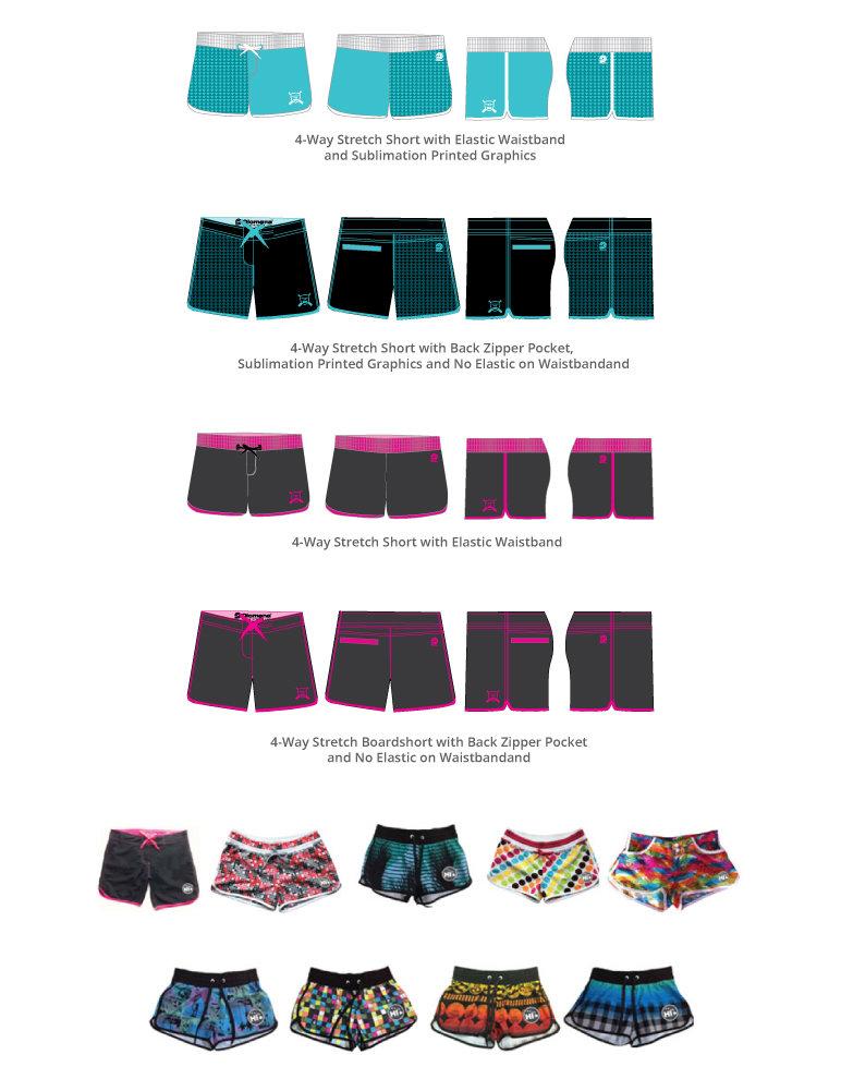 Custom 4-Way Stretch Ladies' Shorts, Custom Ladies Shorts