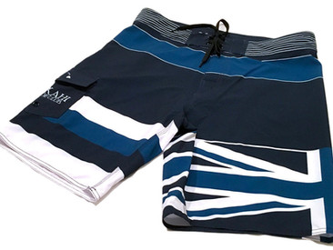 Custom 4-Way Stretch Men's Boardshorts For Lokahi Canoe Club.