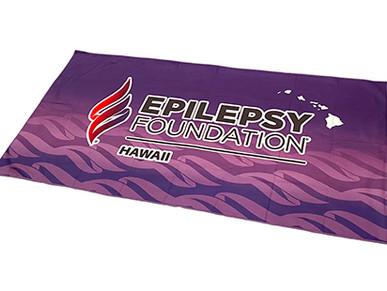 Custom Microfiber Suede Towels for Epilepsy Foundation of Hawaii.