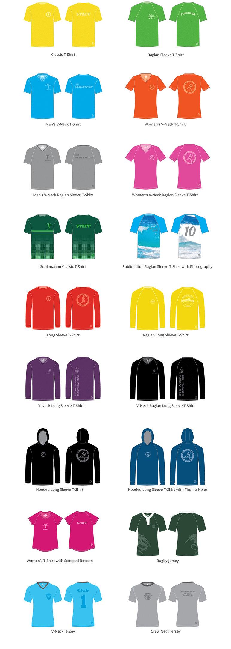 Custom T-Shirts, Quick-Dry T-Shirts, Cotton T-Shirts, Long Sleeve T-Shirts, V-Neck T-Shirts, Women's T-Shirts, Sublimation T-Shirts, Hooded T-Shirts, Custom Jerseys