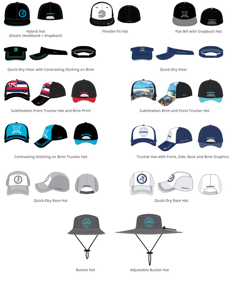 Custom Trucker Hats, Custom Quick-Dry Visors, Custom Bucket Hats, Custom Hybrid Hats, Custom Quick-Dry Race Hats, Custom Flat Bill Trucker Hats, Custom Hats