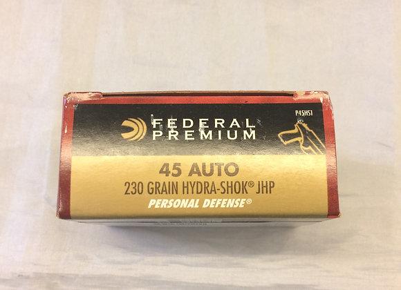 Federal 45 Auto Hydra Shock JHP