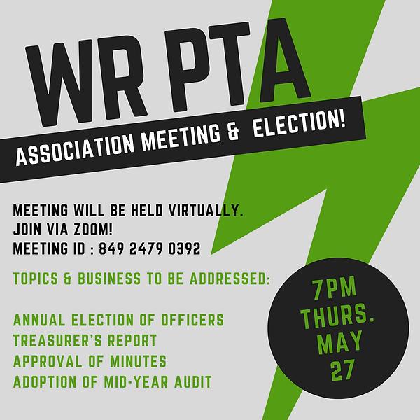 WR PTA Association Meeting May Notice.pn
