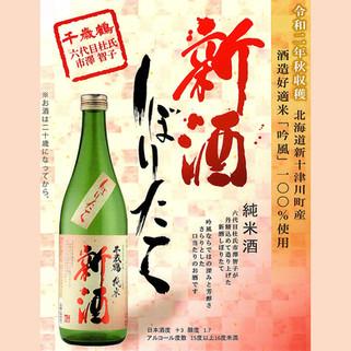 北海道新十津川町産 酒造好適米「吟風」100% 千歳鶴 純米酒「新酒 しぼりたて』