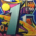 Painted banner for the number 1