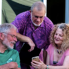 Residents looking at photo on phone