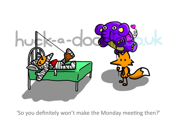 """won't make that meeting"" greetings card"