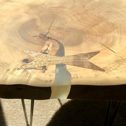 maple round with walnut bowtie inlay