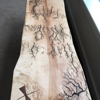 Elm with electric burns and walnut bowtie inlay