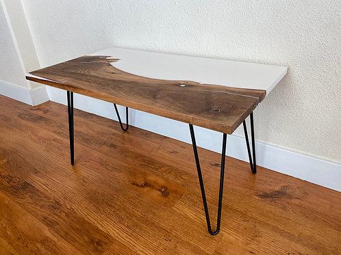Walnut Coffee Table With White Epoxy