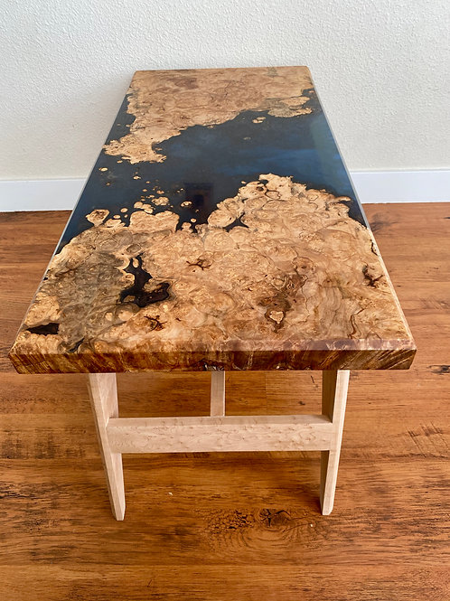 Maple Burl Coffee Table With Blue Epoxy