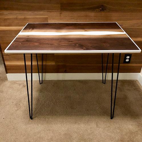 Walnut Desk with white epoxy
