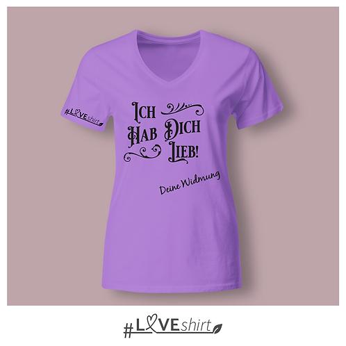#LOVEshirt Damen V-Ausschnitt Lavendel