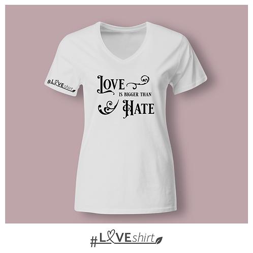 #LOVEshirt Damen V-Ausschnitt Snowwhite
