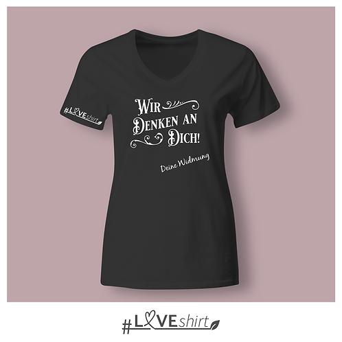 #LOVEshirt Damen V-Ausschnitt Deep black