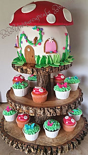Mushroom House with cupcakes on tree sta