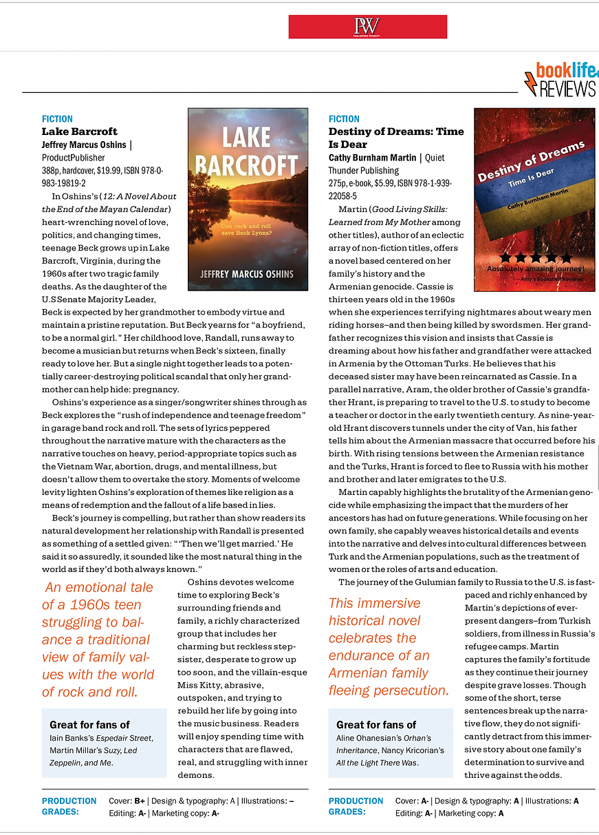 Publishers Weekly Review Lake Barcroft by Jeffrey Marcus Oshins