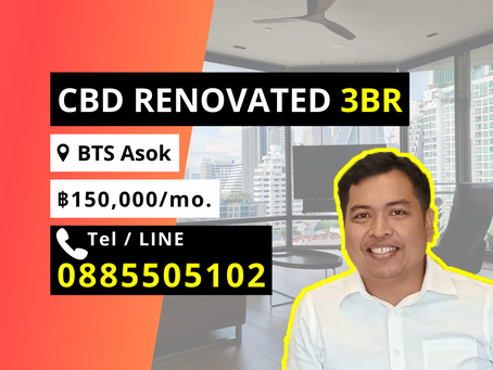 For Rent Renovated 3BR Condo BTS Asok 150k