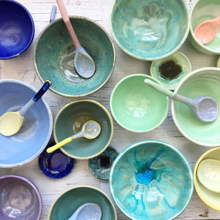 cereal bowls + spoons