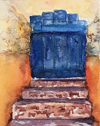 cobalt + orange doorway