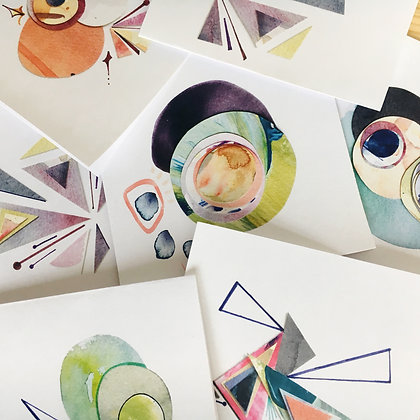 abstract card set of 10