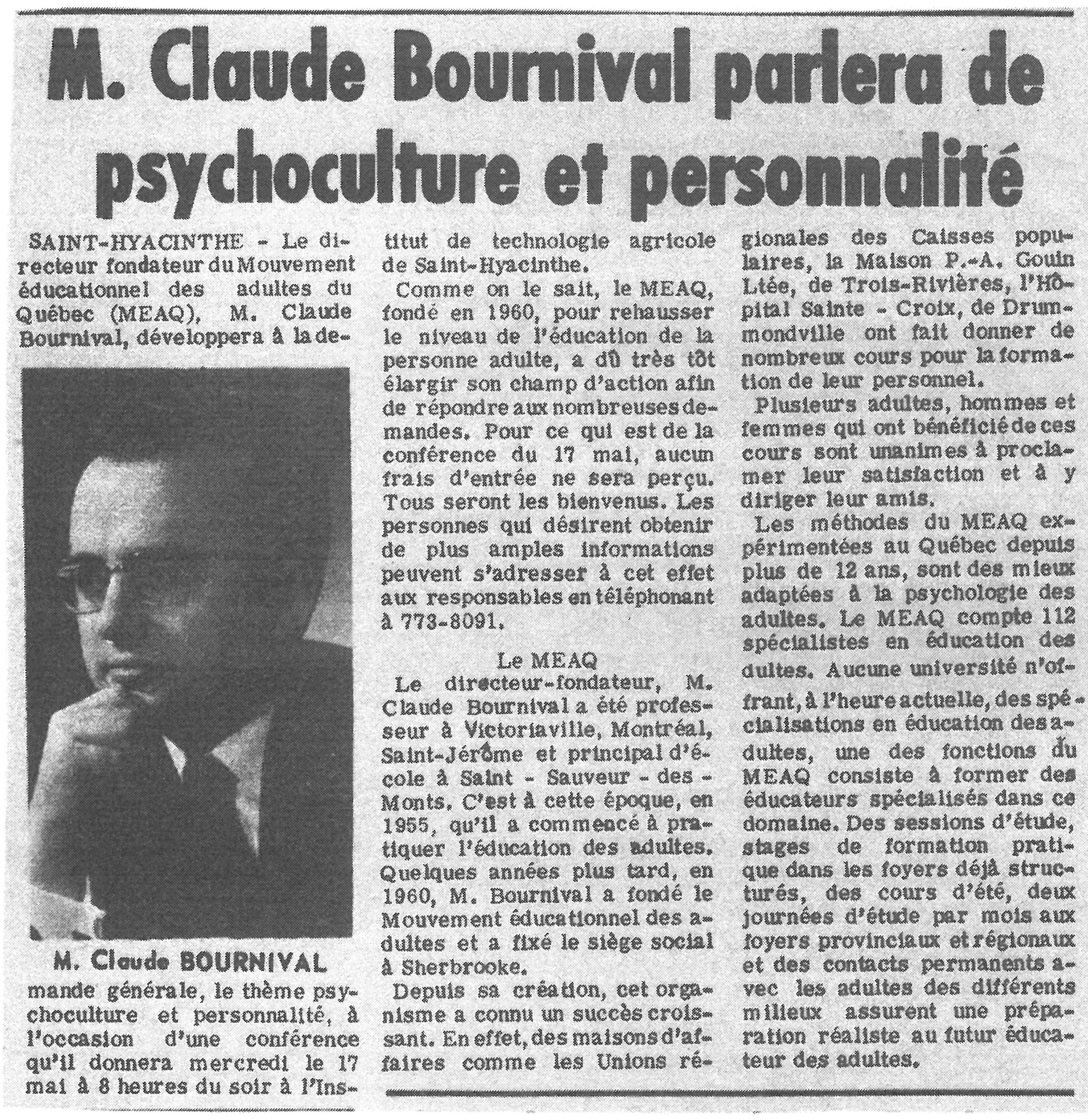 Claude Bournival 1967