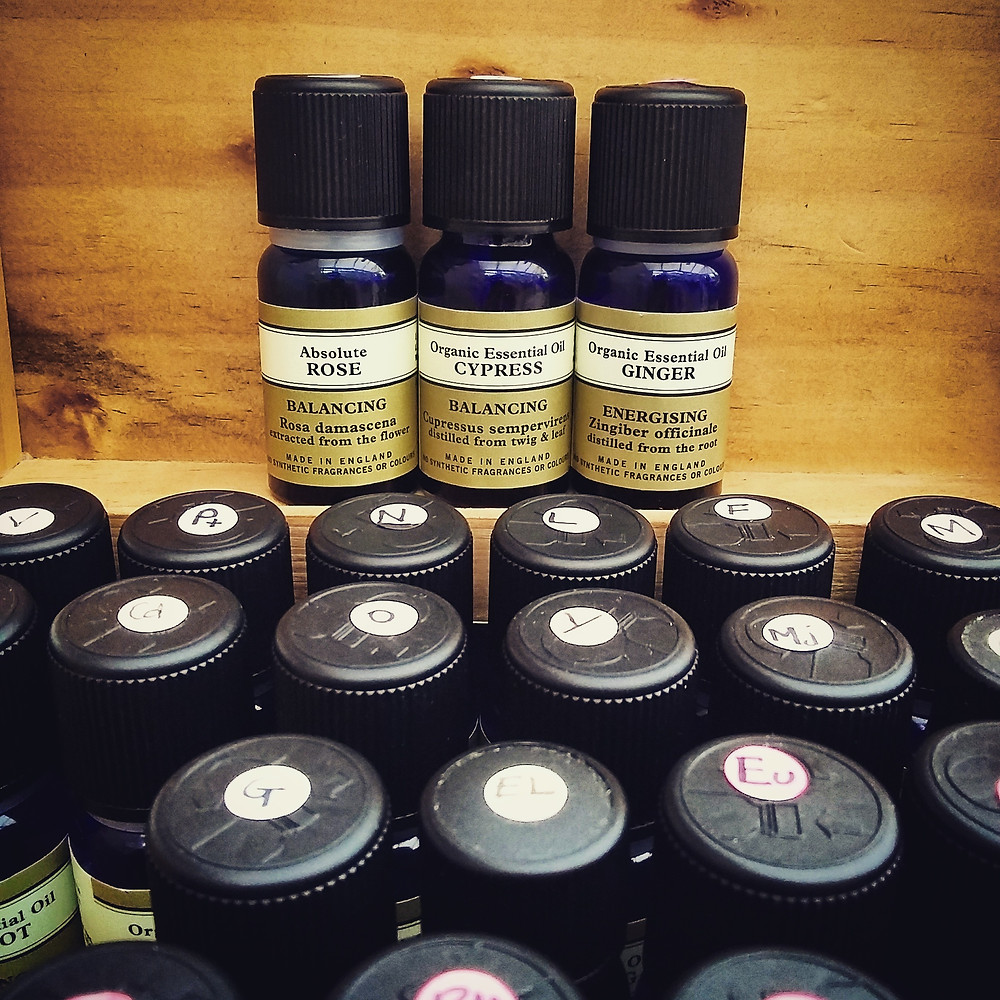 Essential Oils of Rose, Cypress and Ginger at Emma Kenny Massage Therapies in Cambridge